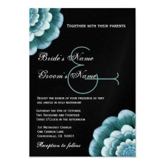 Aguamarina azul y plantilla negra del boda de la invitación 12,7 x 17,8 cm