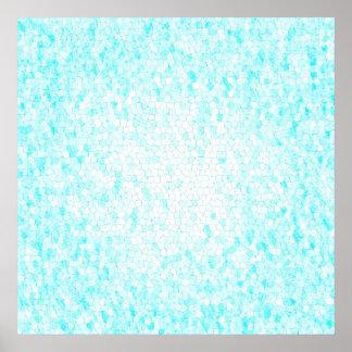Aguamarina azul y poster blanco del modelo de mosa