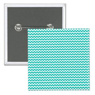Aguamarina azul y raya blanca de Chevron Pin Cuadrado