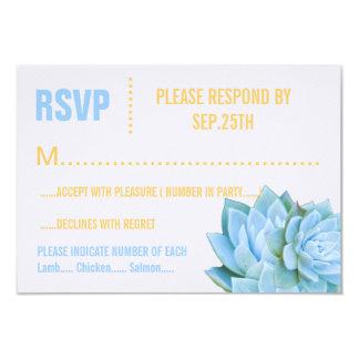 """Aguamarina azul y RSVP elegante moderno suculento Invitación 3.5"""" X 5"""""""