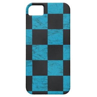 Aguamarina azul y tablero de damas de mármol negro iPhone 5 funda