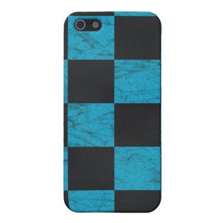 Aguamarina azul y tablero de damas de mármol negro iPhone 5 cárcasas