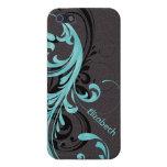 Aguamarina azul y voluta ondulada negra floral iPhone 5 cárcasas
