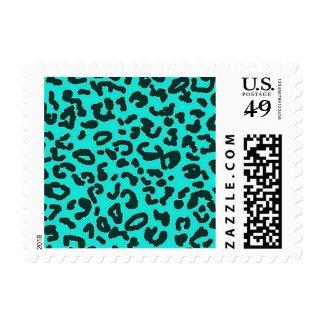Aguamarina azulverde, estampado de animales del timbres postales