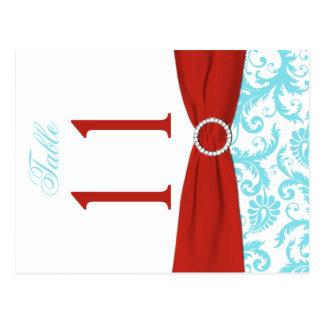 Aguamarina bilateral, rojo, número blanco de la postales