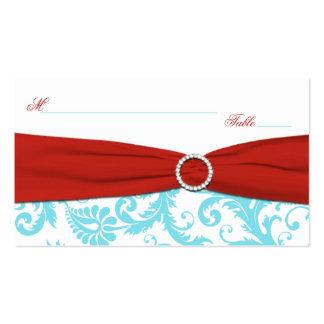 Aguamarina, blanco, y damasco rojo Placecards Tarjetas De Visita