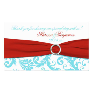 Aguamarina, blanco, y etiqueta roja del favor del tarjetas de visita