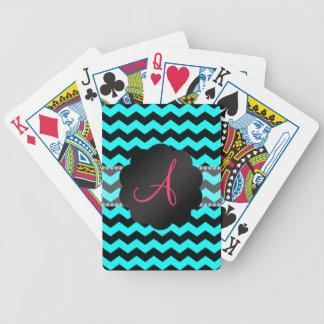 Aguamarina brillante del monograma y galones negro baraja cartas de poker