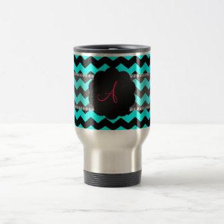 Aguamarina brillante del monograma y galones negro taza de viaje de acero inoxidable