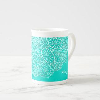 Aguamarina brillante dibujada mano del diseño del taza de porcelana