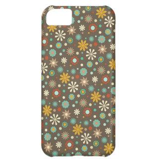Aguamarina Brown del estampado de flores de la caí Funda Para iPhone 5C