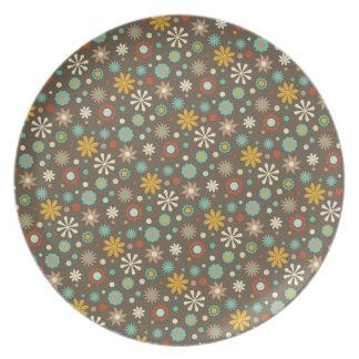 Aguamarina Brown del estampado de flores de la caí Plato De Comida