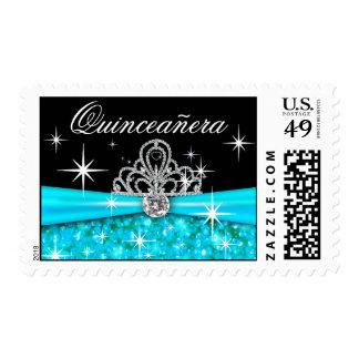 Aguamarina chispeante de la tiara de Quinceanera Sellos Postales