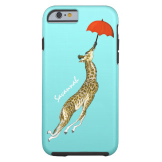 Aguamarina colorida linda que vuela el paraguas funda para iPhone 6 tough