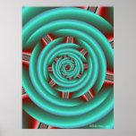 Aguamarina con espiral rojo de los dientes poster