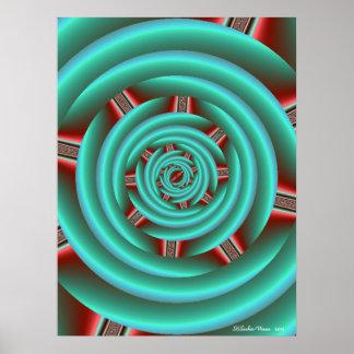Aguamarina con espiral rojo de los dientes póster
