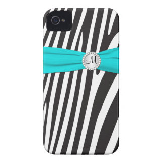 Aguamarina con monograma, negro, cebra blanca raya iPhone 4 Case-Mate fundas