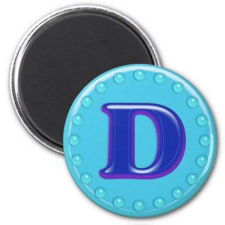 Aguamarina D inicial Imán Para Frigorifico