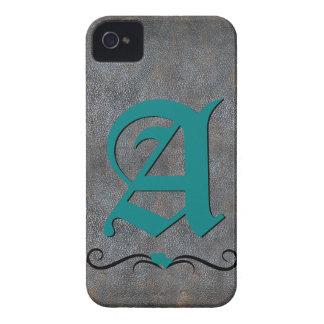 Aguamarina de cuero apenada antigüedad con monogra iPhone 4 carcasa