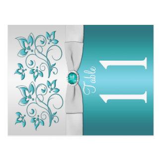 Aguamarina de doble cara y número floral de plata tarjetas postales