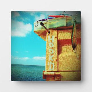Aguamarina de la caja de aparejos de los pescados placas de madera