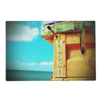 Aguamarina de la caja de aparejos de los pescados salvamanteles