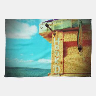 Aguamarina de la caja de aparejos de los pescados toalla