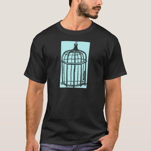 aguamarina de la jaula de pájaros playera
