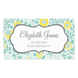 Aguamarina de la menta y damasco floral retro tarjetas de visita