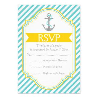 Aguamarina del ancla, RSVP que se casa náutico ama Invitaciones Personalizada
