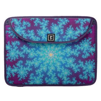 Aguamarina del fractal del copo de nieve azul fundas macbook pro