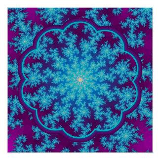 Aguamarina del fractal del copo de nieve azul perfect poster