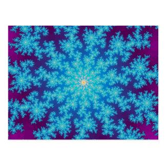 Aguamarina del fractal del copo de nieve azul tarjeta postal