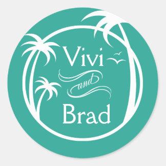 Aguamarina del logotipo el | de la palma de la pegatina redonda