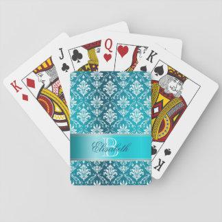 Aguamarina del monograma azul y damasco blanco barajas de cartas
