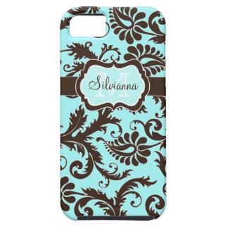 Aguamarina del monograma, Brown, caja floral iPhone 5 Carcasa