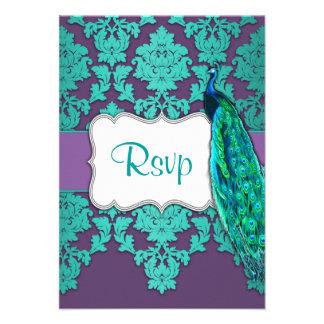 Aguamarina del pavo real y damasco púrpura que cas anuncios