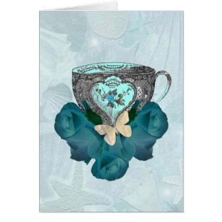 Aguamarina del té y de los rosas felicitaciones