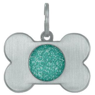 Aguamarina del verde azul del brillo placas de mascota