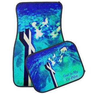 Aguamarina del zafiro cruzado santo N esteras azul