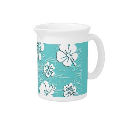 Aguamarina e hibisco tropical blanco jarras de beber