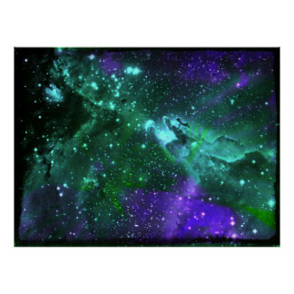 Aguamarina e impresión Amethyst de la nebulosa Póster