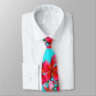 Aguamarina e impresión hawaiana del Plumeria del Corbata Personalizada
