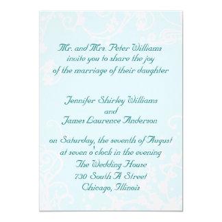 Aguamarina e invitación blanca del boda