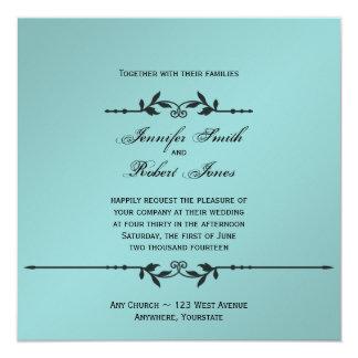 Aguamarina e invitación elegante del boda del invitación 13,3 cm x 13,3cm