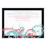 Aguamarina e invitación floral coralina del boda