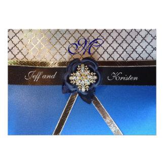 Aguamarina e invitaciones del boda del azul real invitación