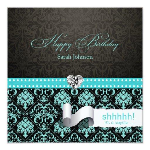 Aguamarina elegante azul y cumpleaños negro de la invitación 13,3 cm x 13,3cm