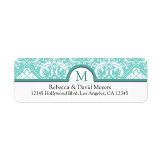 Aguamarina elegante azul y damasco blanco con el m etiquetas de remite