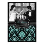 Aguamarina elegante azul y foto negra del boda del invitaciones personalizada
